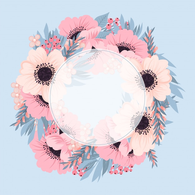 Cornice floreale con fiore rosa e blu. Vettore Premium