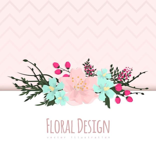 Cornice floreale con fiori colorati. Vettore gratuito