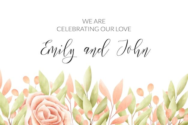 Cornice floreale dell'acquerello carta di invito a nozze. Vettore gratuito