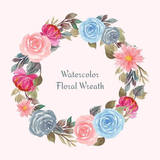 Cornice floreale dell'acquerello con fiori colorati Vettore Premium