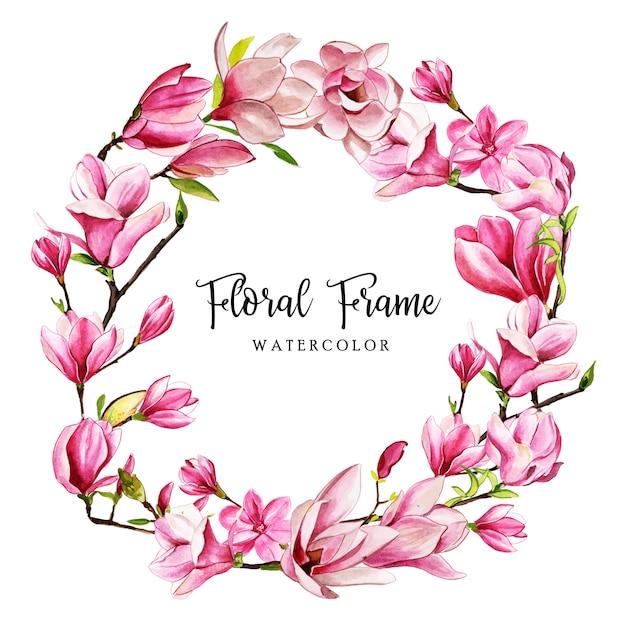 Cornice floreale dell'acquerello Vettore Premium