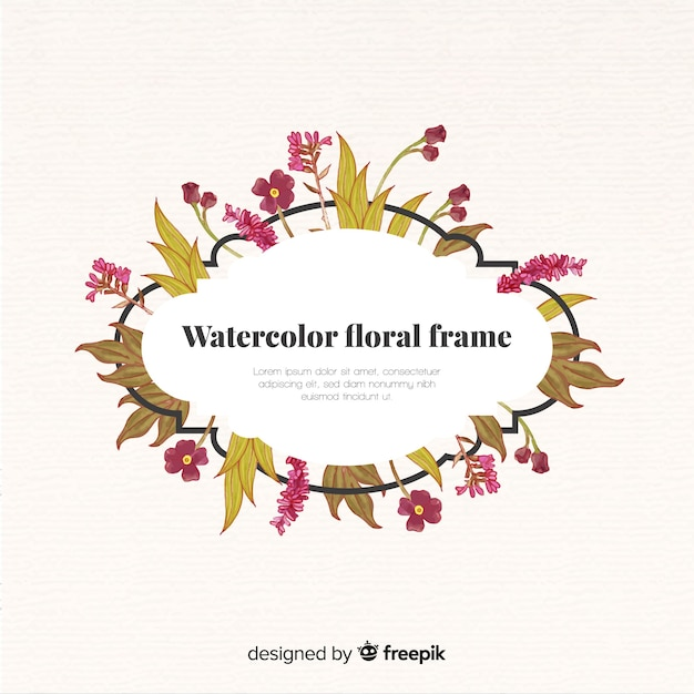 Cornice floreale dell'acquerello Vettore gratuito