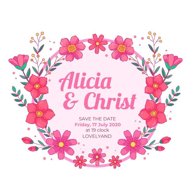 Cornice floreale di nozze salva i fiori rosa data Vettore gratuito