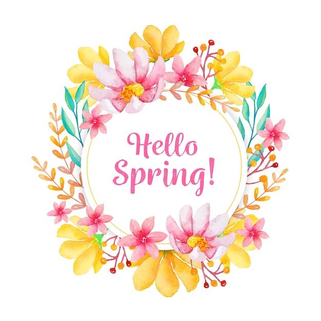 Cornice floreale di primavera in acquerello Vettore gratuito