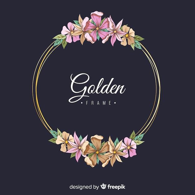 Cornice floreale dorata Vettore gratuito