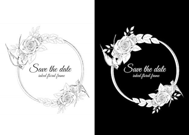 Cornice floreale in bianco e nero inchiostrata con rondini e rose Vettore Premium