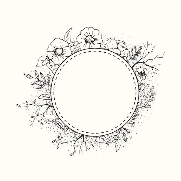 Cornice floreale logo Vettore Premium