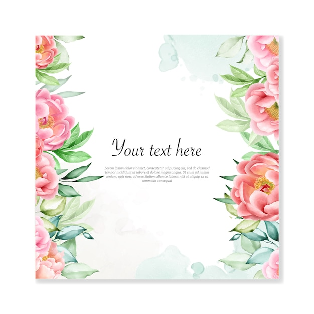 Cornice floreale multiuso sfondo floreale ad acquerello Vettore Premium
