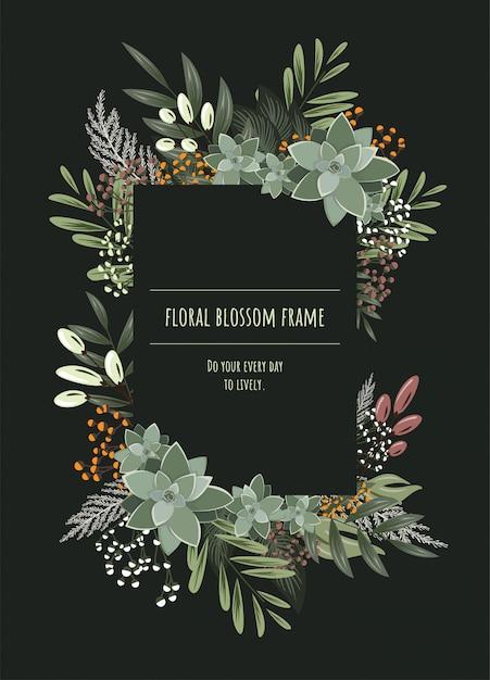 Cornice floreale per biglietti d'invito e grafica. Vettore Premium