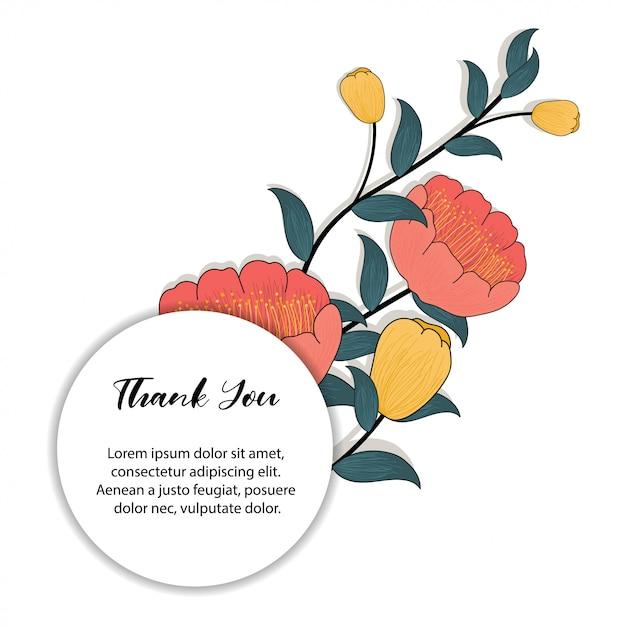 Cornice floreale per biglietto di ringraziamento Vettore Premium