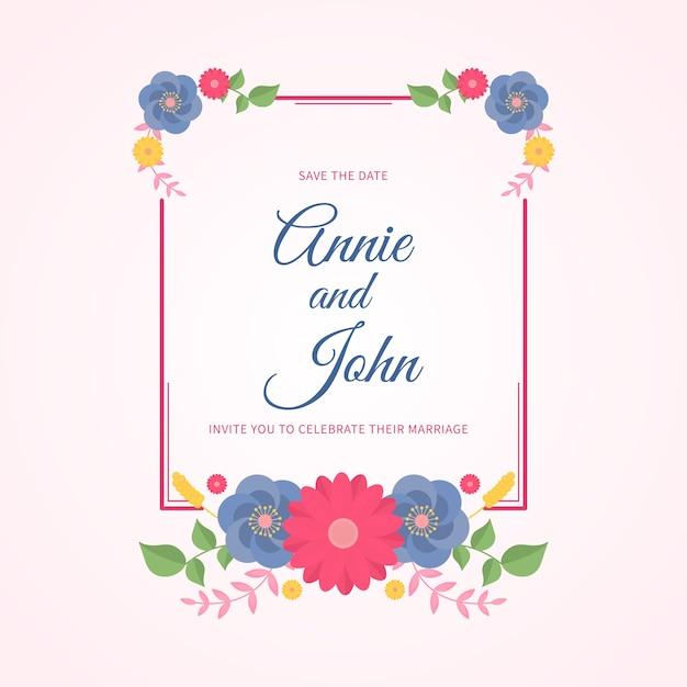 Cornice floreale per matrimoni Vettore gratuito