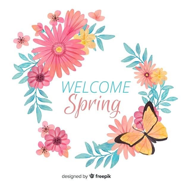 Cornice floreale primavera acquerello Vettore gratuito