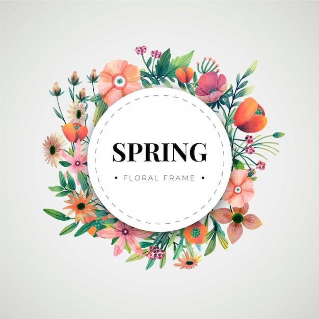 Cornice floreale primavera dell'acquerello Vettore gratuito