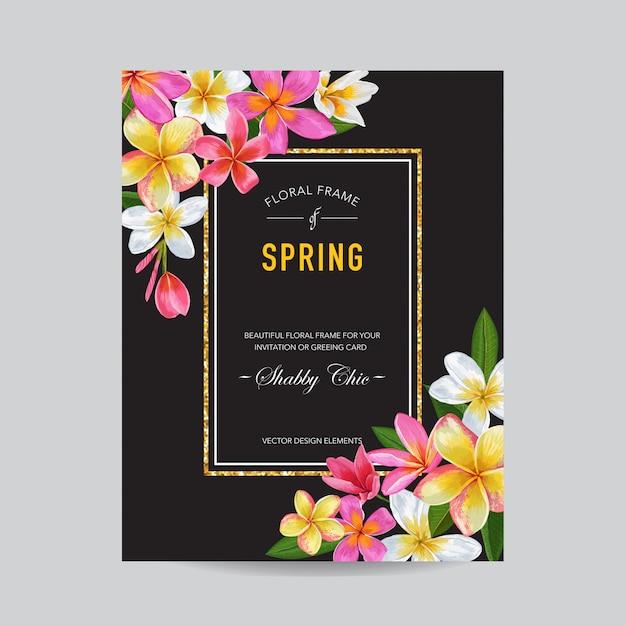 Cornice floreale primavera ed estate Vettore Premium