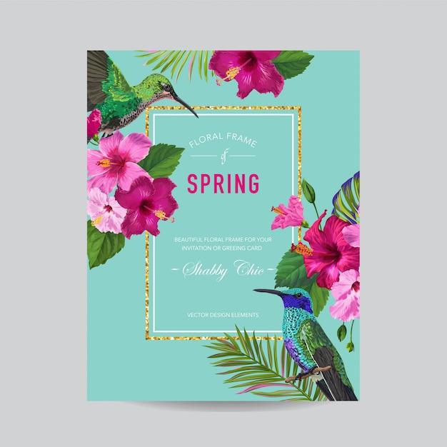 Cornice floreale primavera estate con uccelli Vettore Premium