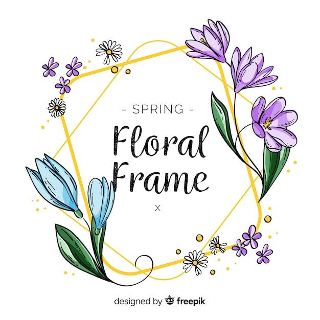Cornice floreale primaverile Vettore gratuito