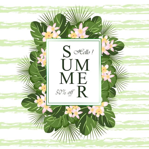 Cornice floreale verde con fiori estivi e foglie tropicali Vettore Premium