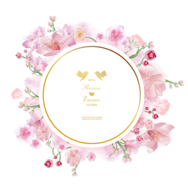 Cornice floreale vintage in stile acquerello. Vettore Premium