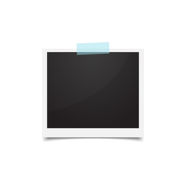 Cornice fotografica attaccata con nastro di carta. foto retrò vuota Vettore Premium