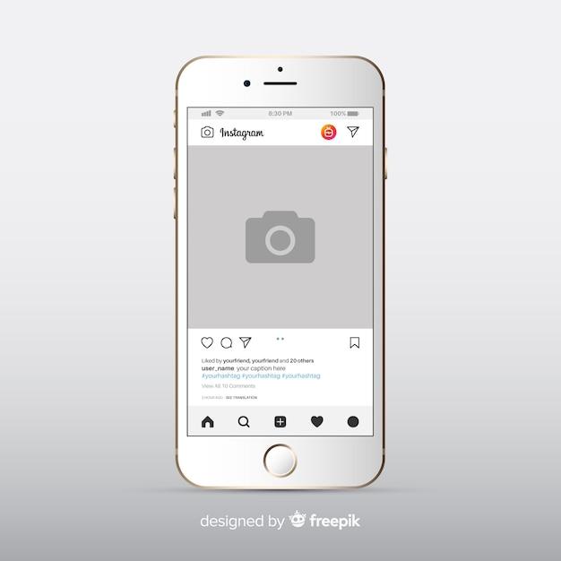 Cornice fotografica instagram realistico su iphone Vettore gratuito