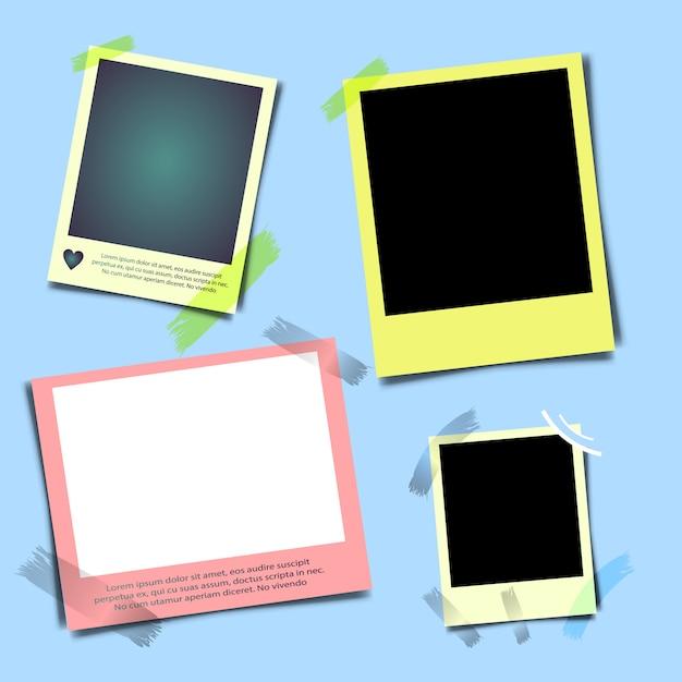 Cornice fotografica realistica con ombra, istantanea fotografia vuota vuota con nastro adesivo. Vettore Premium