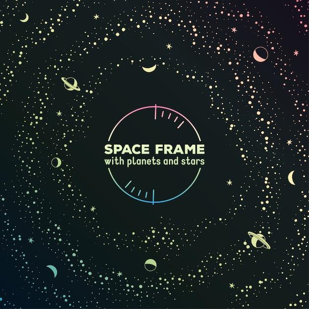 Cornice futuristica retrò con spazio, stelle e pianeti Vettore Premium