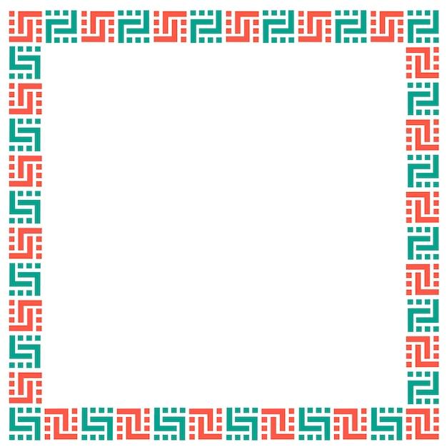 Cornice geometrica etnica su bianco Vettore Premium