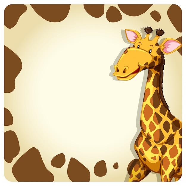 Cornice giraffa con animale Vettore gratuito