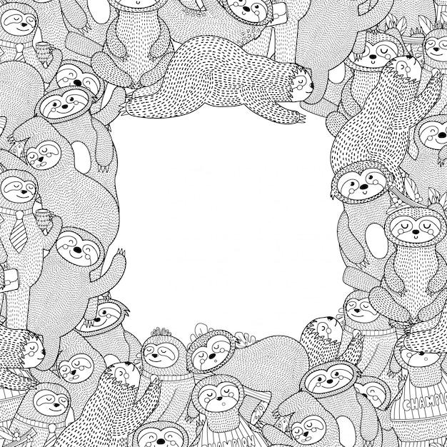 Cornice in bianco e nero con bradipi divertenti. stile da colorare Vettore Premium
