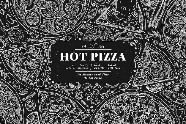 Cornice italiana per pizza e ingredienti. modello di progettazione banner cibo italiano. retro illustrazione disegnata a mano di vettore sul bordo di gesso. può essere utilizzato per il menu o l'imballaggio. Vettore Premium