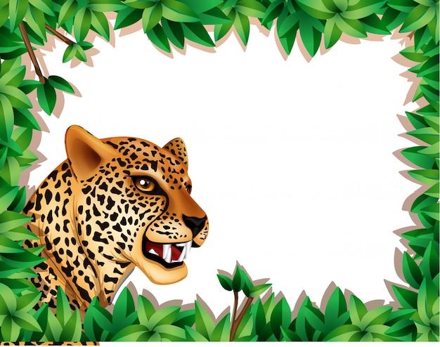 Cornice leopardata con foglie Vettore gratuito