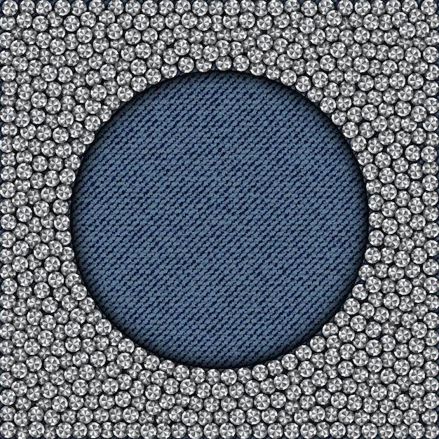 Cornice lustrata a cerchio blu denim Vettore Premium