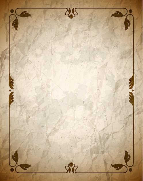 Cornice marrone spiegazzata con ornamento Vettore Premium