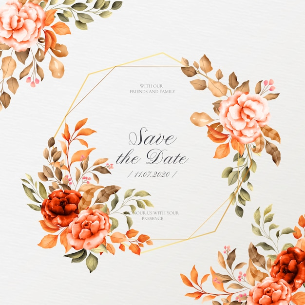 Cornice matrimonio romantico con fiori vintage Vettore gratuito