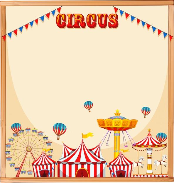 Cornice modello circo bianco con testo, giostre e bandiere Vettore gratuito