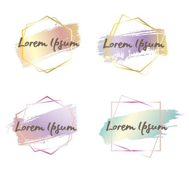 Cornice moderna esagonale angosciata Vettore Premium