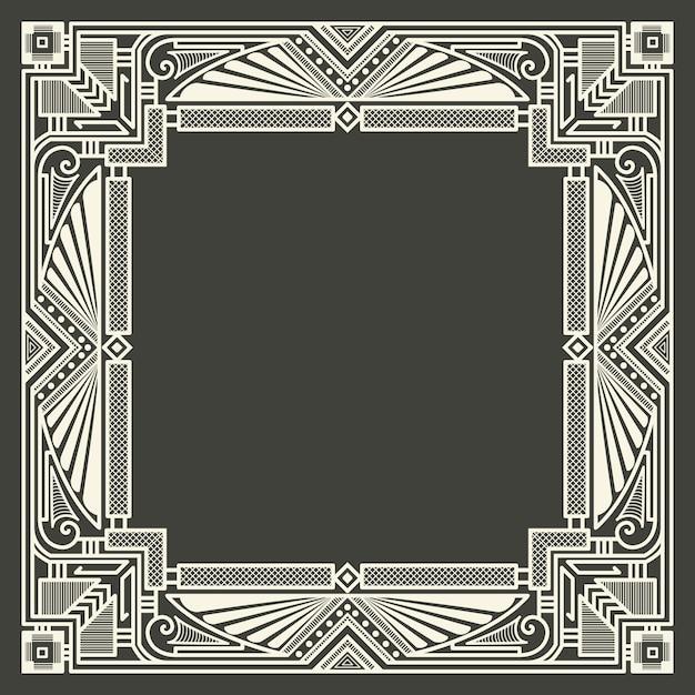 Cornice monogramma floreale e geometrico su sfondo grigio scuro. elemento di design monogramma. Vettore gratuito