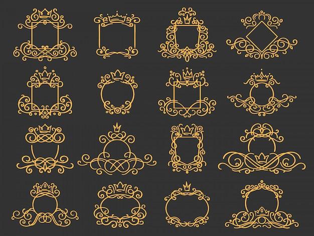 Cornice monogramma reale. emblema della corona disegnata a mano, segno di schizzo di doodle dell'annata ed eleganti monogrammi impostati Vettore Premium