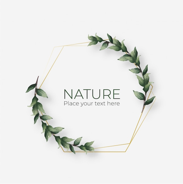 Cornice naturale con cornice geometrica dorata Vettore gratuito