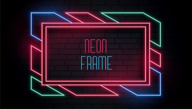Cornice neon colorata alla moda con spazio testo Vettore gratuito