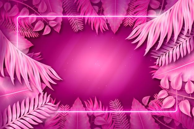 Cornice neon rosa con foglie Vettore gratuito