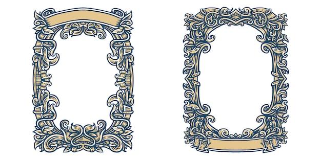 Cornice ornata, cornice ornamentale retrò, ornamenti vintage e bordo ornato. Vettore Premium