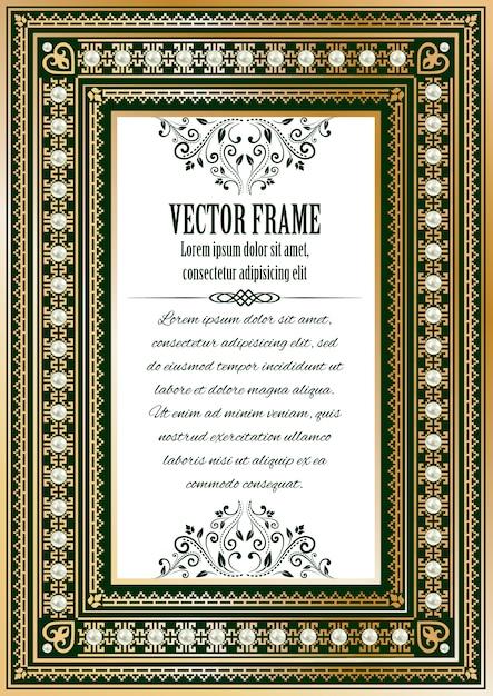 Cornice ornata d'epoca di lusso per il vostro testo o foto. oro reale con perle su verde scuro con testo di esempio, divisore e elementi calligrafici. Vettore Premium
