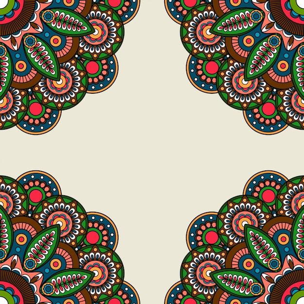 Cornice ornata di motivi floreali rotondi Vettore Premium
