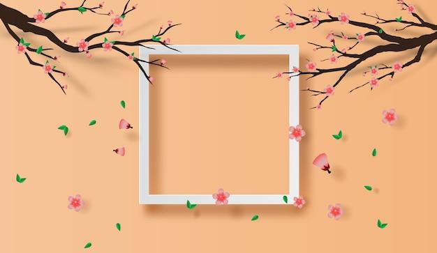 Cornice primavera stagione concetto di fiori di ciliegio Vettore Premium