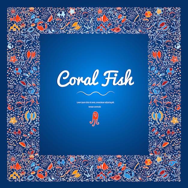 Cornice quadrata di pesci di acque profonde, alghe Vettore Premium