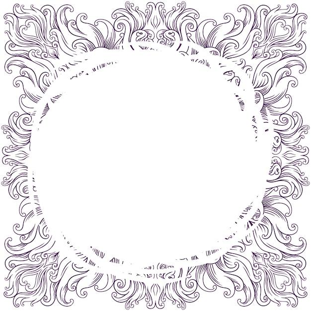 Cornice quadrata per henné, mehndi, tatuaggio, decorazione. ornamento decorativo in stile etnico orientale. Vettore Premium