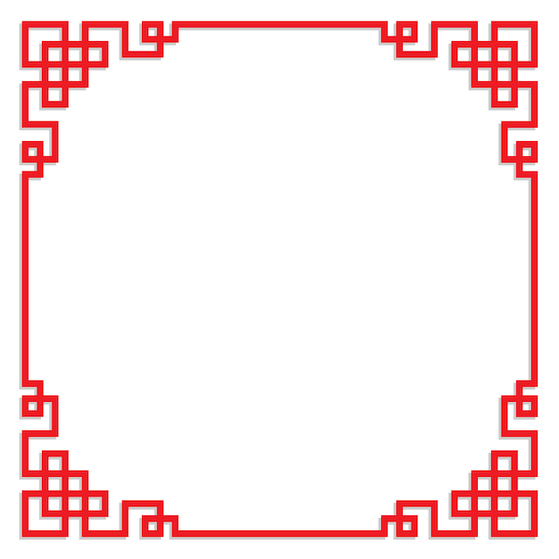 Cornice rossa cinese con spazio di copia Vettore Premium