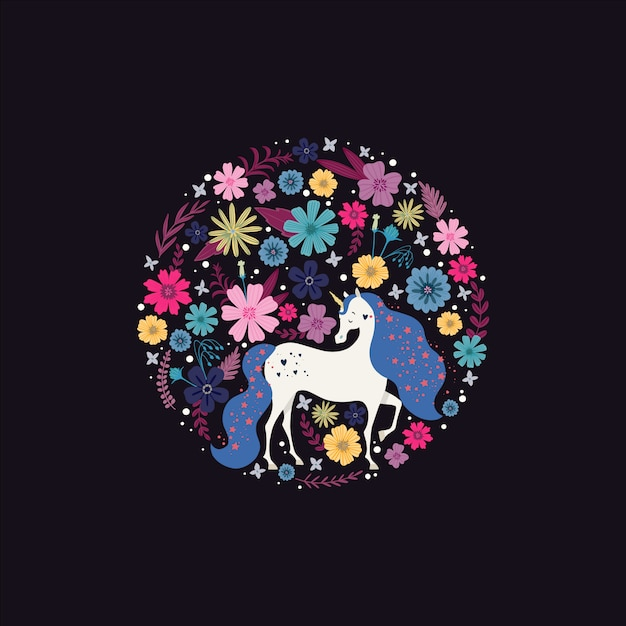 Cornice rotonda con un unicorno circondato da fiori Vettore Premium