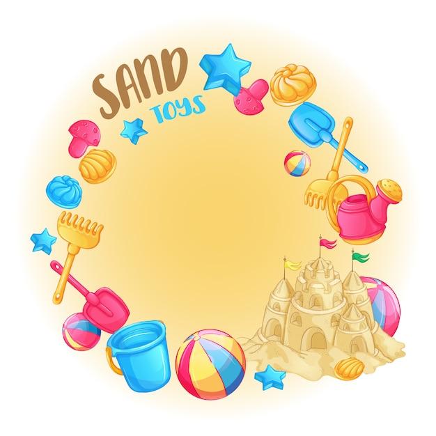 Cornice rotonda di giocattoli da spiaggia per il castello di sabbia e sabbia. Vettore Premium